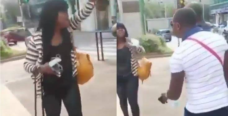 """""""Oga you no dey shame? you get disease for belle?"""" – Lady disgraces man in public for farting close to her (Video)"""