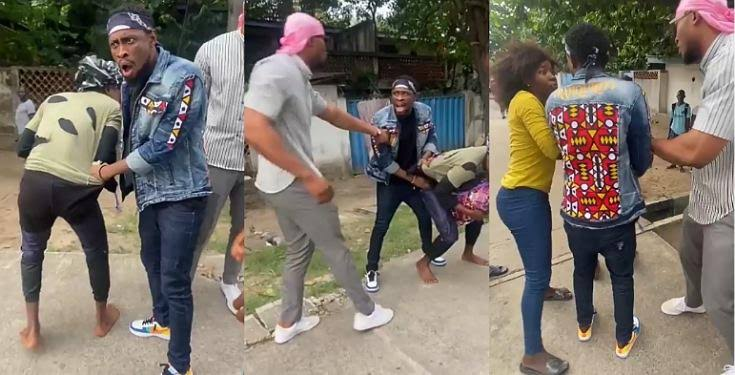 Trikytee and Eric caught on camera fighting a guy in public over N5,000 (Video)