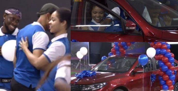 Nengi jumps into front seat as Ozo emerges winner of the 2020 Innoson Caris whip (Photos/Video)