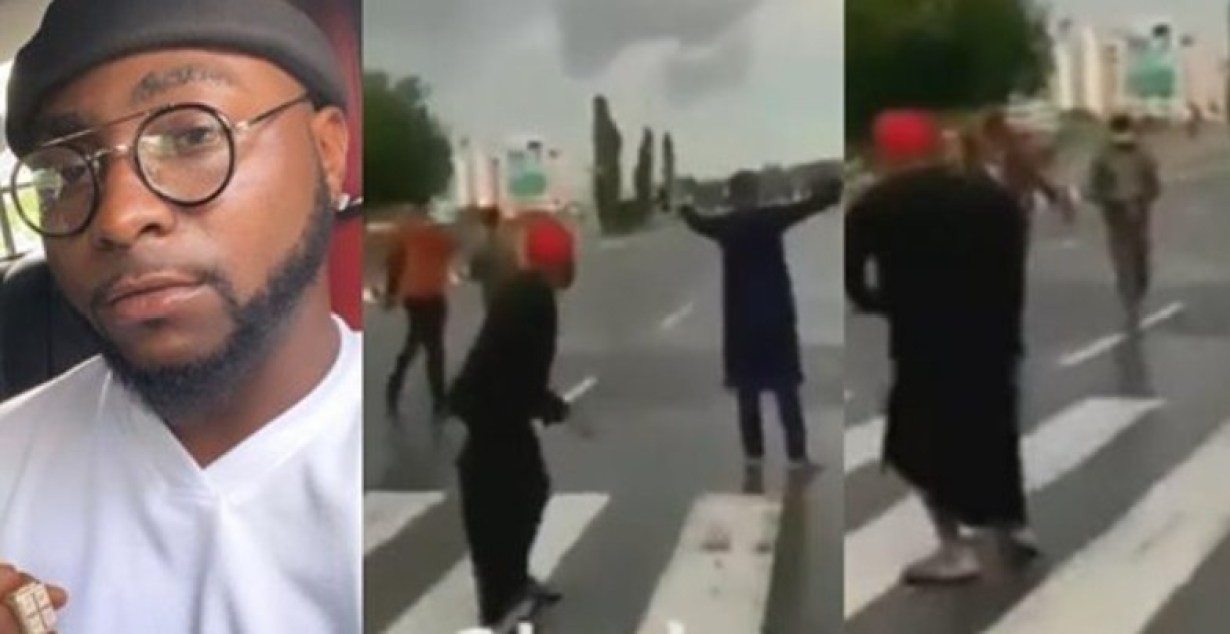 Moment Davido tried to run away as police officers threatened to shoot (Video)