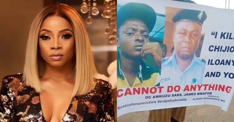 Toke Makinwa Calls For Prosecution of SARs Officer Over Death of Chijioke