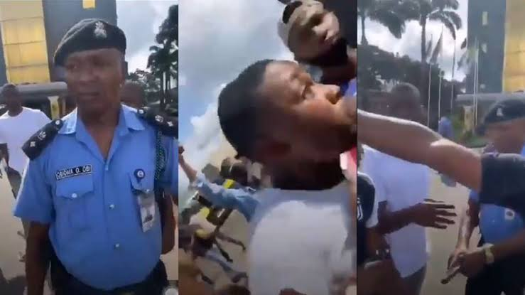 Drama as DPO punches protester during #EndSars protest (Video)