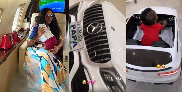 Davido's fiancee, Chioma buys son customized Benz for his first birthday (Videos)