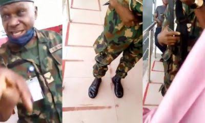 Soldier in trouble for flogging lady at ATM stand (Video)