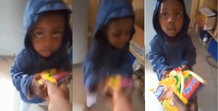 """""""Give me my palliative"""" – Little boy breaks down in tears as he drags indomie with his mom (Video)"""