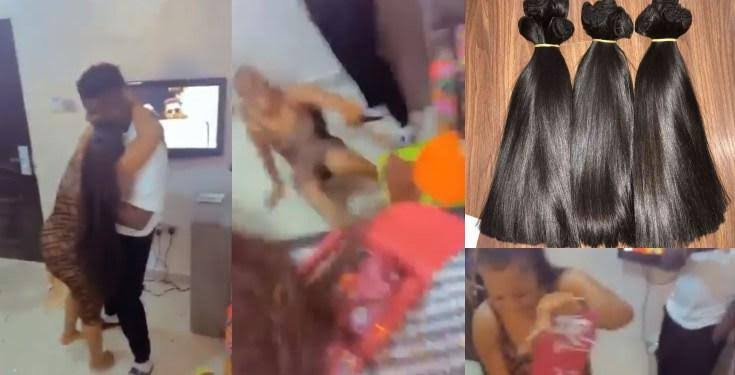 Lady goes gaga after being gifted 'bone straight wig' wort of 300k (Video)