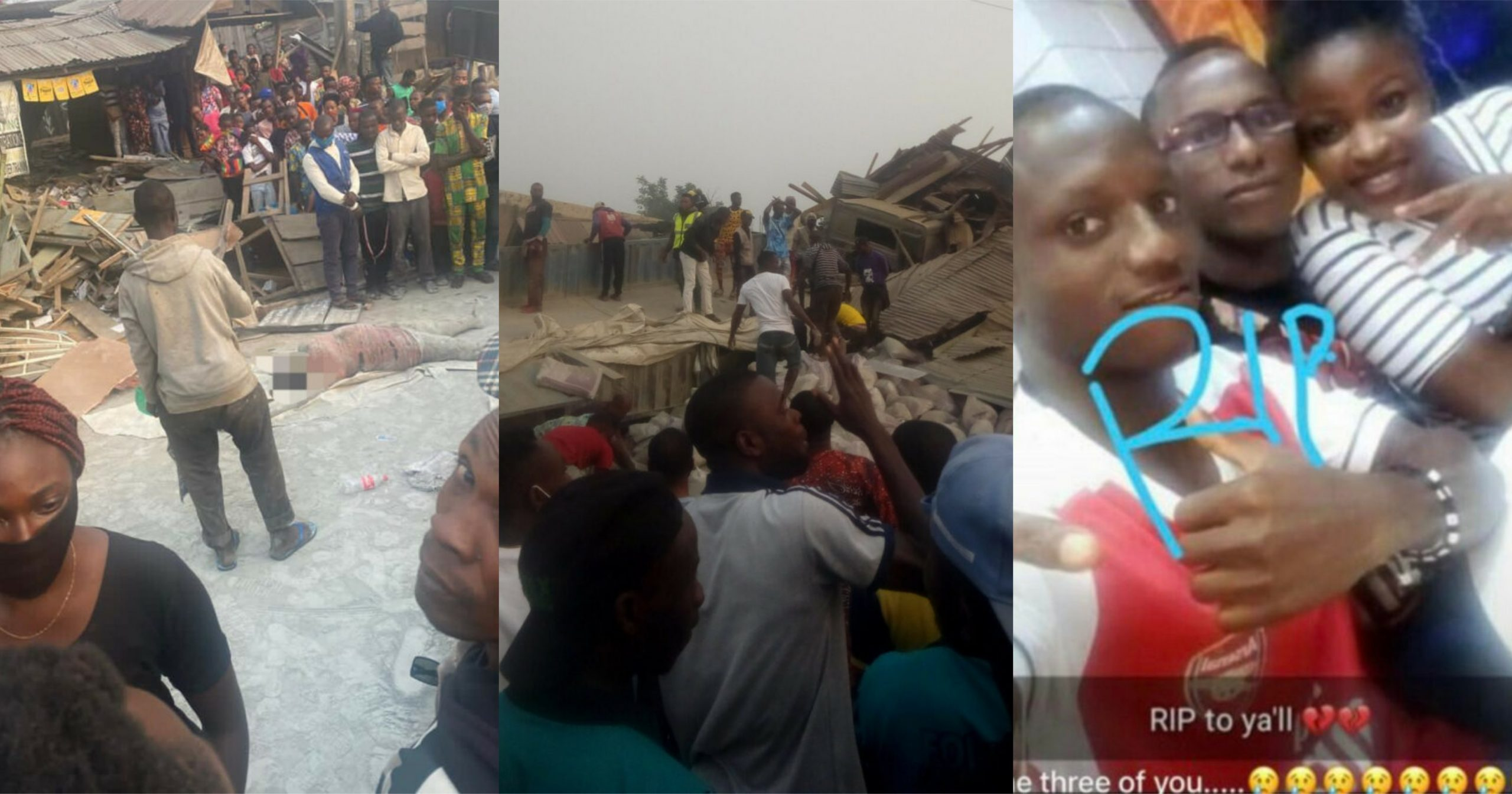 Man mourns his 3 siblings who died after a truck rammed into their mother's shop in Ondo (Graphic photos)