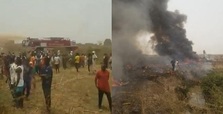 Military aircraft crashes near Abuja airport, with no survivors recorded (Video)